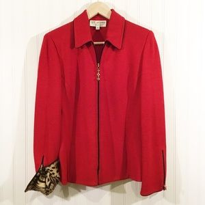 ST JOHN RED ZIP FRONT COLLARED JACKET